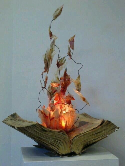 "Flaming Spell Book...using a battery LED pilar candle...orange and red craft tissue paper...newspaper...wired newspaper & tissue ""flames""... Place on open spellbook and...voila..."