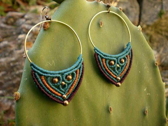 Big ethnic earrings. colorful hoops. tribal macrame. hippie