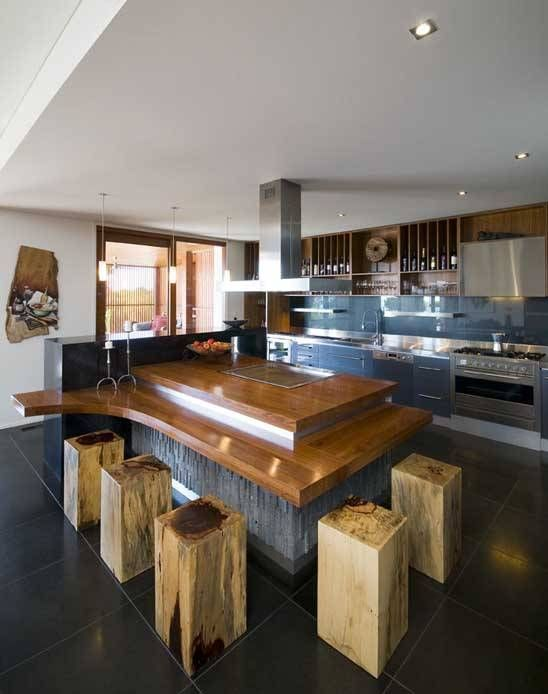 Love this island and bar seats!: Modern House Design, Kitchens, Interior Design, Design Interiors, Interiors Green Design, House Interiors, Architecture, Modern Houses