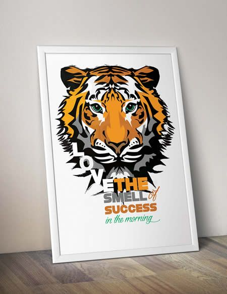 Abstract Illustration of a Tiger with a Motivational Quote Design