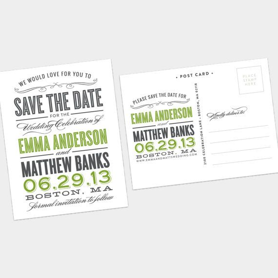 Old Fashioned Save The Date Postcard By