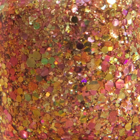 Nice Melons! glitter nail polish by Hollish 5-free indie nail lacquer, hand-made in South Australia-pink, rose, gold, sea green, holo, holographic, hex, dot, square