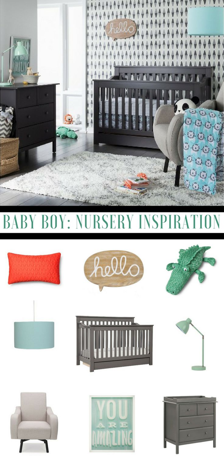 Have a look at this adorable baby nursery theme, great baby boy nursery inspiration. Cute baby boy nursery. Green, grey and blue baby boy nursery. Crocodile nursery theme.Sabrina Soto Leo Nursery room. #affiliate