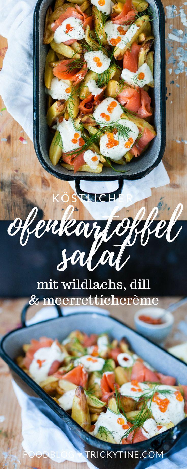 köstlicher salat aus ofenkartoffeln, mit wildlachs, meerrettichcrème und dill ♥ trickytine.com #food #blogger #trickytine #salad #potatoes