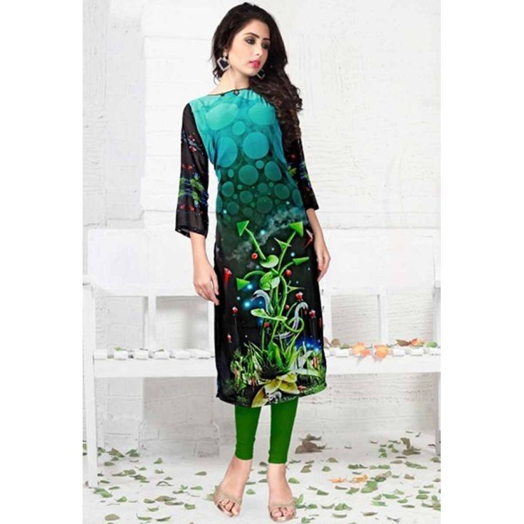 DESIGNER PURE GEORGETT DIGITAL PRINT AAQUA BLUE BLACK KURTIS