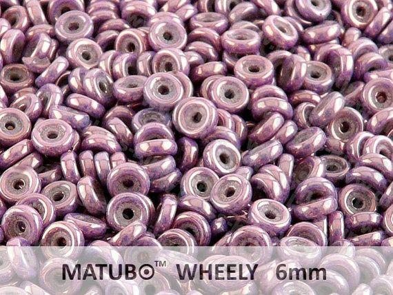 50pcs Violet Vega Wheel Beads 6mm Czech Glass Pressed Beads #bestofEtsy #glass