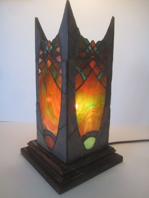 Unique stained glass and slate stone lantern. by JButlerArt