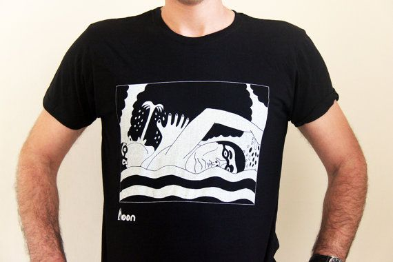 People in water - Men's t-Shirt, White  on black T-shirt - M/L/XL - Shirt  -Fantasy - Funny t shirt- Birthday Gift - Illustration