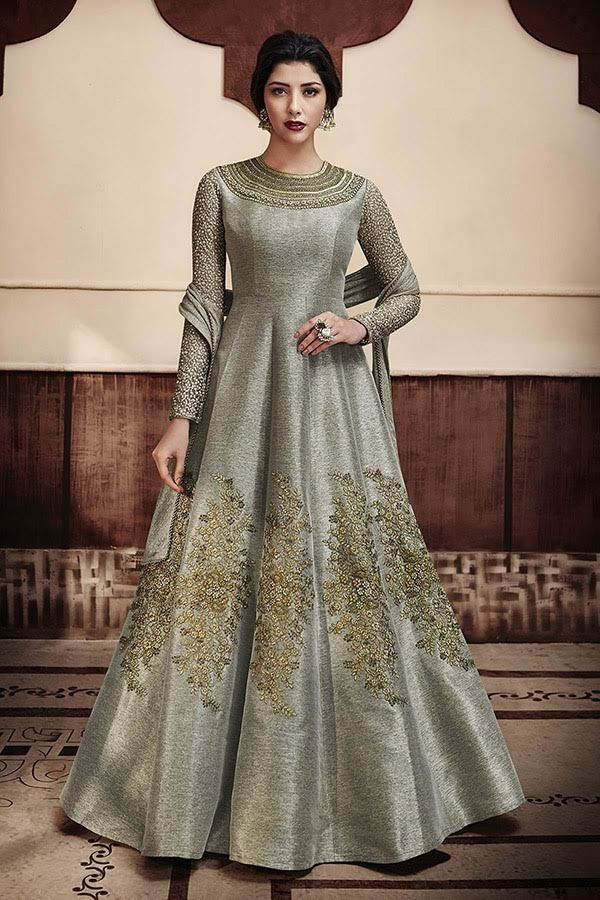 c5833cbddbc7b NK44 - Designer Floor length Jute Gown and Chiffon dupatta Color - Gray,  Golden