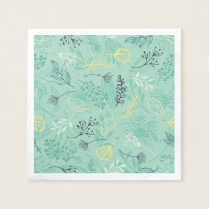 Ditsy Forest Herbs Blue Background | Napkin - floral style flower flowers stylish diy personalize