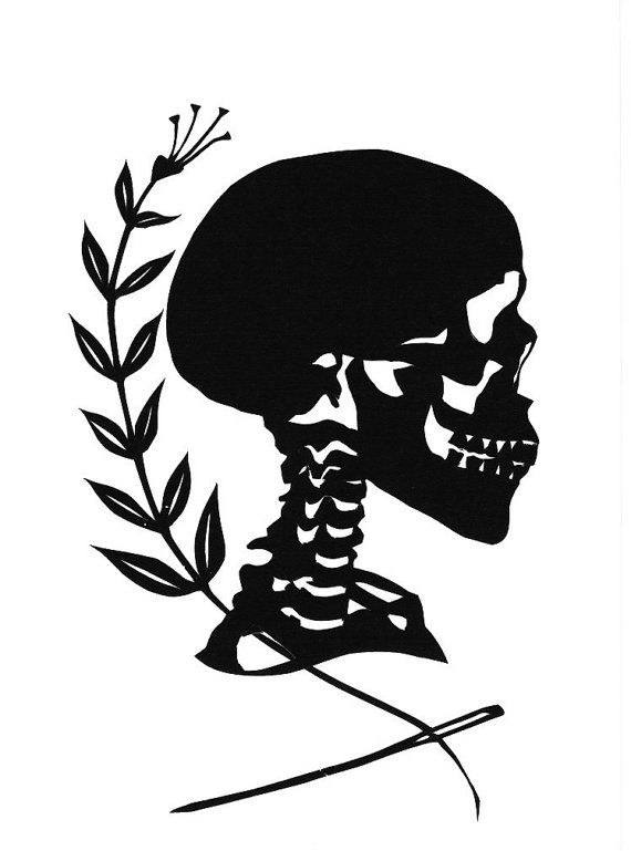 Halloween Skull Silhouette Papercutting by Jenny Lee Fowler