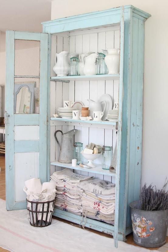 Shabby Chic Cupboard Blue Home Vintage White Style Antique Decorate HutchBlue Doesnt Work For Me But Another Color And Im There