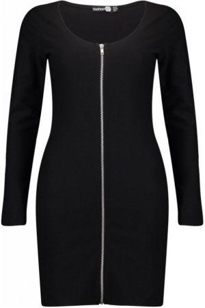 Kvinna Fodralklänningar - Boohoo Roxy Long Sleeve Zip Through Bodycon Dress