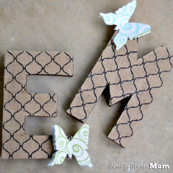 Butterfly Burlap Letters--an easy way to add texture to a letter wall!
