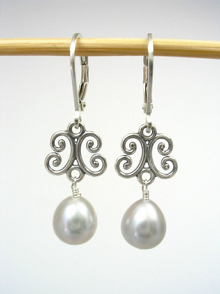 Freshwater Pearl Sterling Silver Filigree Earrings