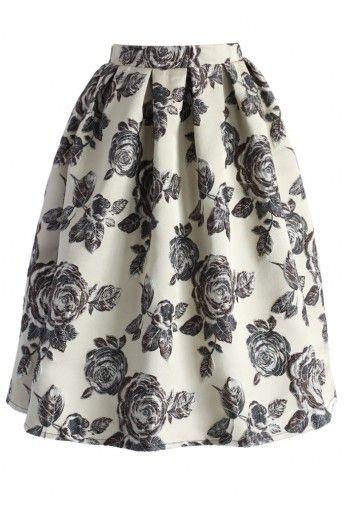 Rose midi skirt