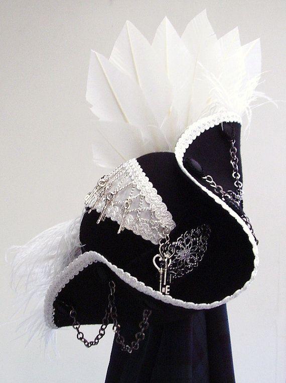 Steampunk Black & white tricorn hat Captain Sydious