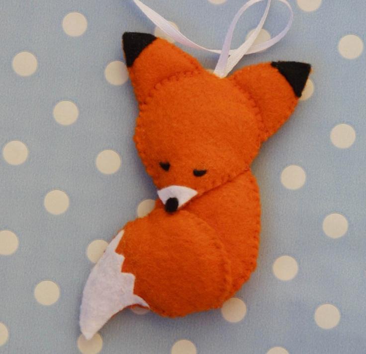 Sleepy felt fox ornament - Lullaby fox. $7.90, via Etsy.