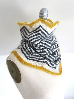 A fun and cozy cowl knit in the round from the top down. Warm and snug around the neck with increasing circumference towards the bottom for ample coverage around the chest and shoulders. The dark and light stripes create a modern, graphic look while the bold pops of colour at both ends keep it lighthearted. Functional and chic!
