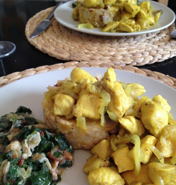 Cassava & Plantain (or Bananas) Mofongo with Pollo Encebollado