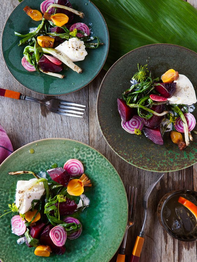 Grilled Beets with Burrata and Poppy Seed Vinaigrette / Bon Appetit