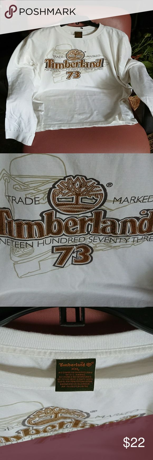 VINTAGE Timberland shirt men's XXL white longsleev Pre-owned no defects, one bottom spot see last photo Timberland Shirts Tees - Long Sleeve