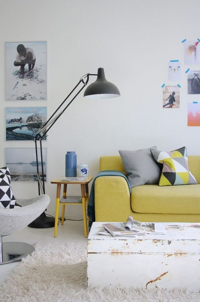 Anglepoise Lamps + yellow sofa