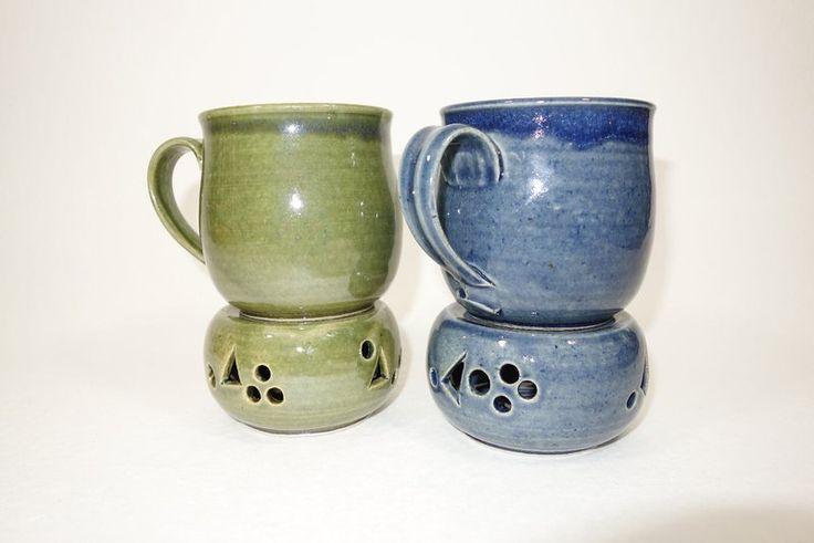 Becher & Tassen - Keramiktasse mit Stövchen, handgetöpfert - ein Designerstück von die-toepferwerkstatt bei DaWanda