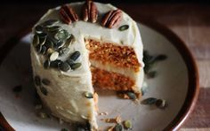 Carrot Cake With Creamy Cashew Lemon Frosting [Raw Vegan]