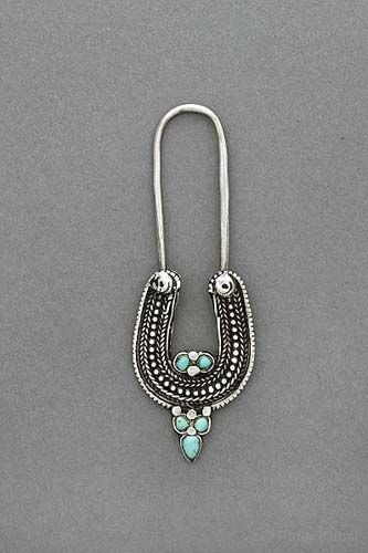 North India | Silver nose pin with turquoise, granulation and wire work. |  Himachal Pradesh, ca. 1910