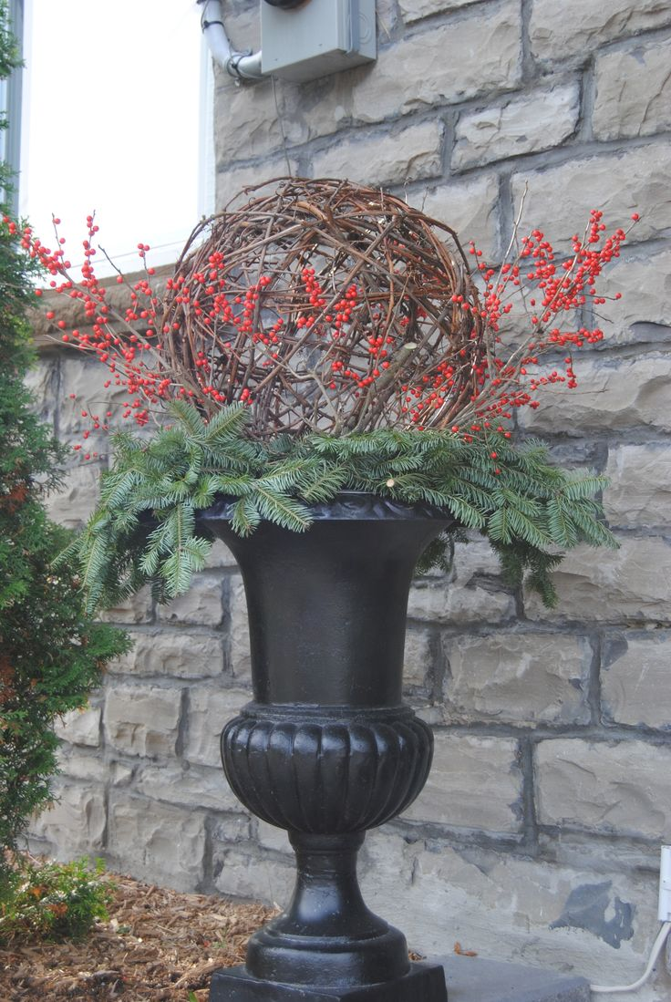 Winter Urn With A Grapevine Ball Christmas Topiary