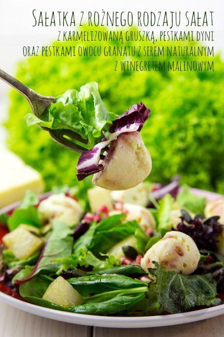 Dziś sałatka z rożnego rodzaju sałat z karmelizowaną gruszką, pestkami dyni oraz pestkami owocu granatu z serem naturalnym z winegretem malinowym http://gotowaniezpasja.pl/salatki/308-salatka-z-roznego-rodzaju-salat-z-karmelizowana-gruszka-pestkami-dyni-oraz-pestkami-owocu-granatu-z-serem-naturalnym-z-winegretem-malinowym #foodphotography #foodporn #fotografiakulinarna #blogkulinarny #gotowaniezpasją #pawełłukasik #grzegorztargosz