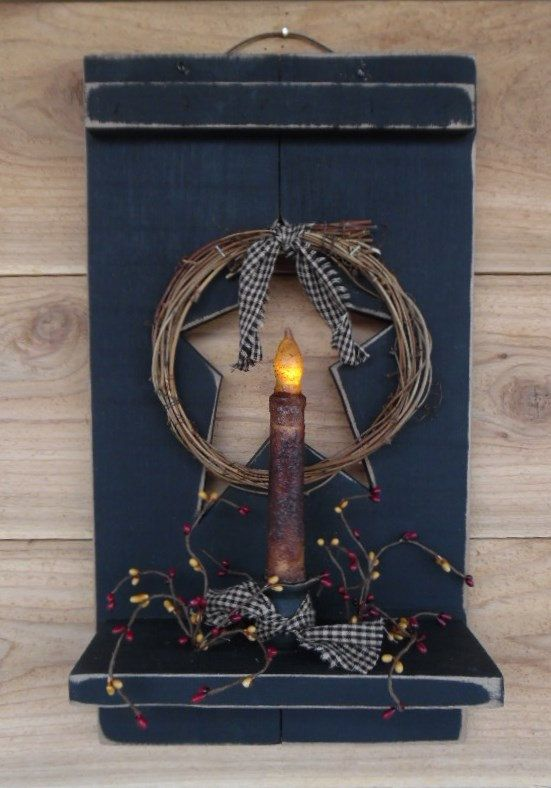 Primitive Shutter Shelf w/candle .. by BoggyCreekPrimitive on Etsy