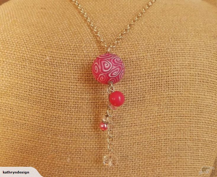 Bright Pink Long Kathryn Design bead necklace