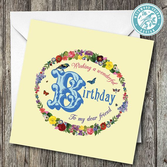 Happy Birthday Dear Friend Card by WychwoodCuckoo on Etsy