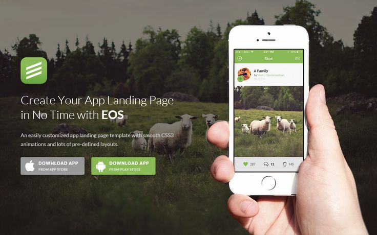 A Beautiful App Landing Page Template with smooth CSS3 Animations: EOS App Landing Page #website #design