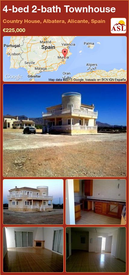 4-bed 2-bath Townhouse in Country House, Albatera, Alicante, Spain ►€225,000 #PropertyForSaleInSpain