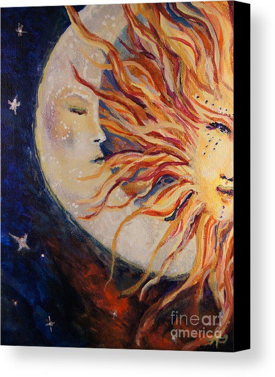 Sun Canvas Print featuring the painting Goodnight Moon by Sandra Gallegos