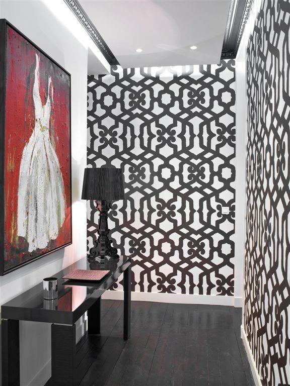 entr e papier peint graphique inspirations d co. Black Bedroom Furniture Sets. Home Design Ideas