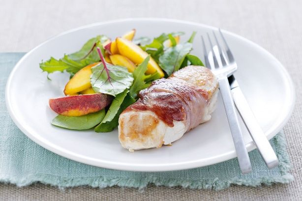 Chicken wrapped with Prosciutto with Peach Salad