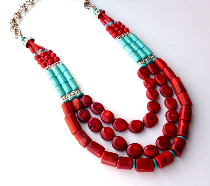 Coral and Turquoise Statement Gemstone Necklace - Red Coral and Turquoise Howlite Chunky Long Necklace - Turquoise Jewelry - Bold Necklace. $65.00, via Etsy.