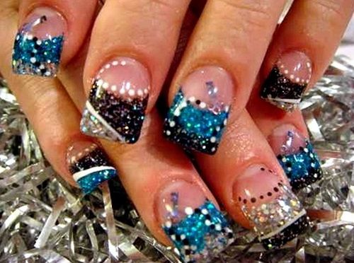 Acrylic Nails With Rhinestones | Glitter Cute Acrylic Nail Designs Cute Acrylic Nail Designs. This would be perfect for next football season