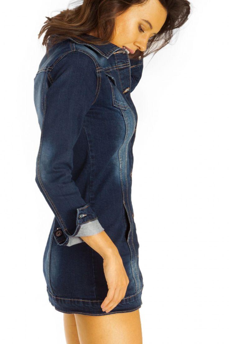 BESTYLEDBERLIN - Mini Jeans Denim Kleid mit Knopfleiste - Lange Damen Jeansjacke - ja57p