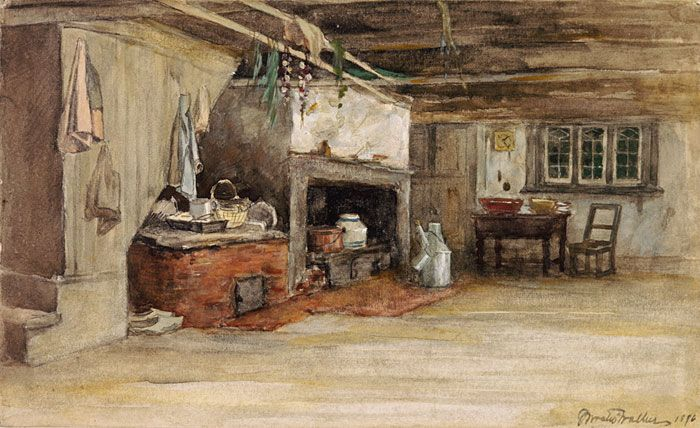 """This is what I want part of my kitchen to look like. Virtual Museum of New France site- """"Daily Life: Vernacular Architecture in New France"""""""