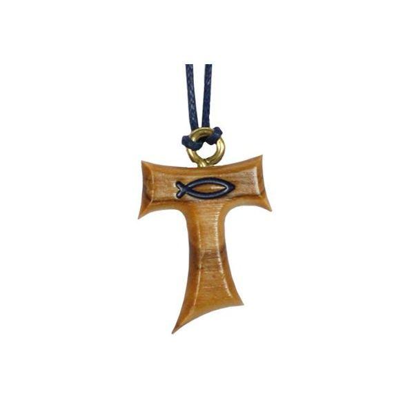 Kreuz Anhänger Olivenholz - Halskette Taukreuz Fisch blau 2,3cm an blauem Band - Kommunion Konfirmation Anhänger Geschenke & Feste Religiöse Geschenke für Kinder