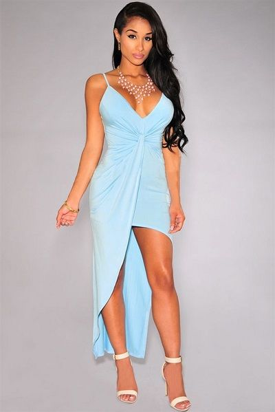 Sky Blue Knotted Front High-Low Jersey Dress