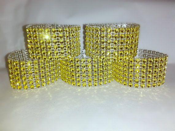 Gold Napkin Rings Bling Crystal Rhinestone by WeddingStuffNThings