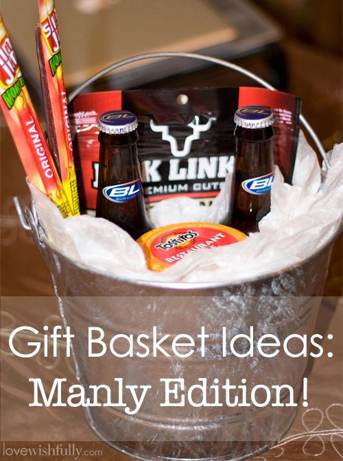 Gift basket idea - 2 beers, small bottle of Jack Daniels (?), Take 5(2)s, advil, water (2), something sweet, pretzels, jerky?