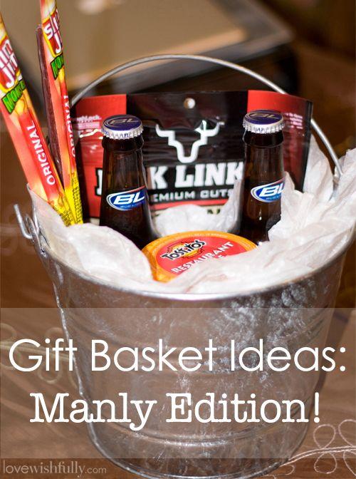 Gift basket idea - 2 beers, small bottle of Jack Daniels (?), Take 5(2)s, advil, water (2), something sweet, pretzels, jerky?