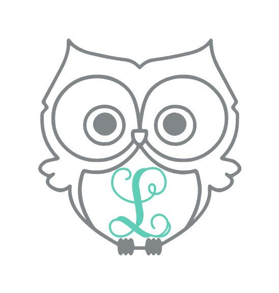 Owl Vinyl Decal Vine Monogram Car Decal Laptop by LeslieScraps